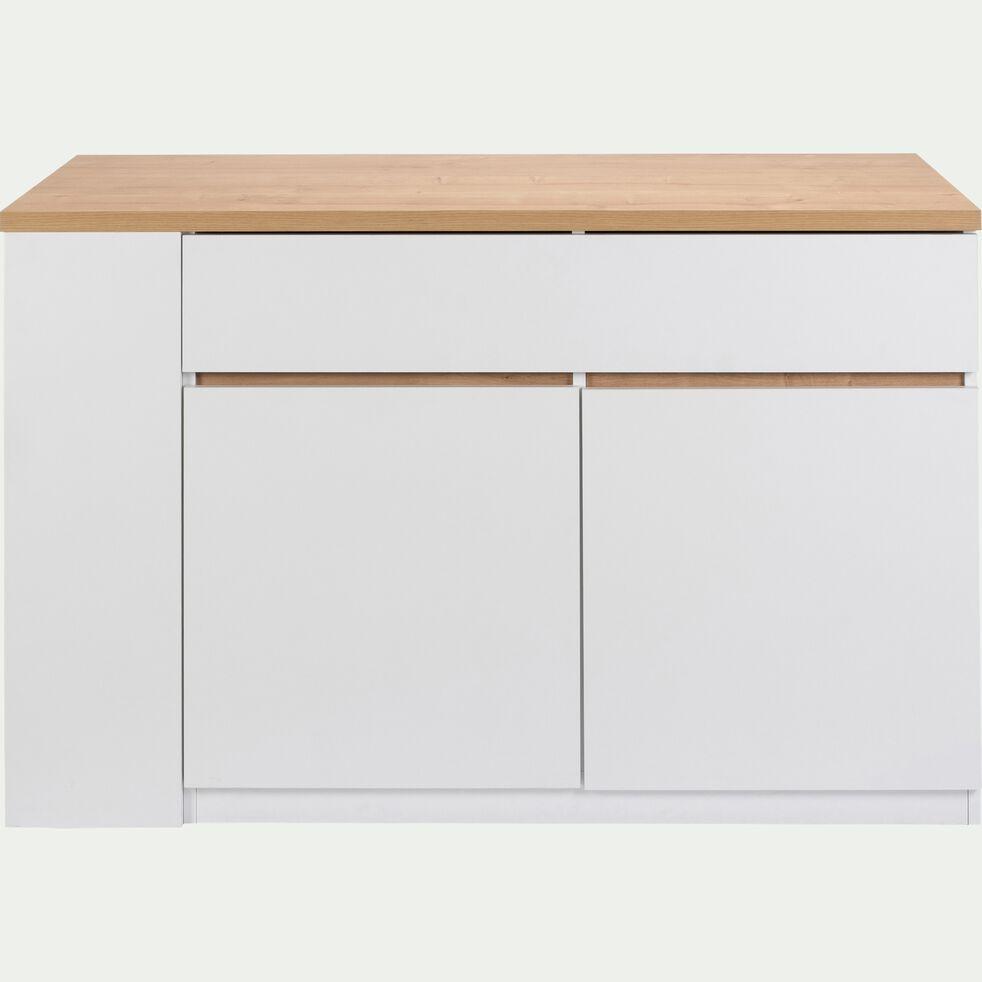 Ilot central de cuisine en bois L137cm - blanc-GABIN