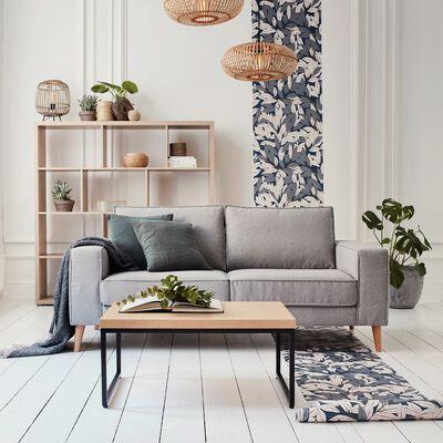 Canapé 2 places fixe en tissu sunday - gris clair-CALIFORNIA