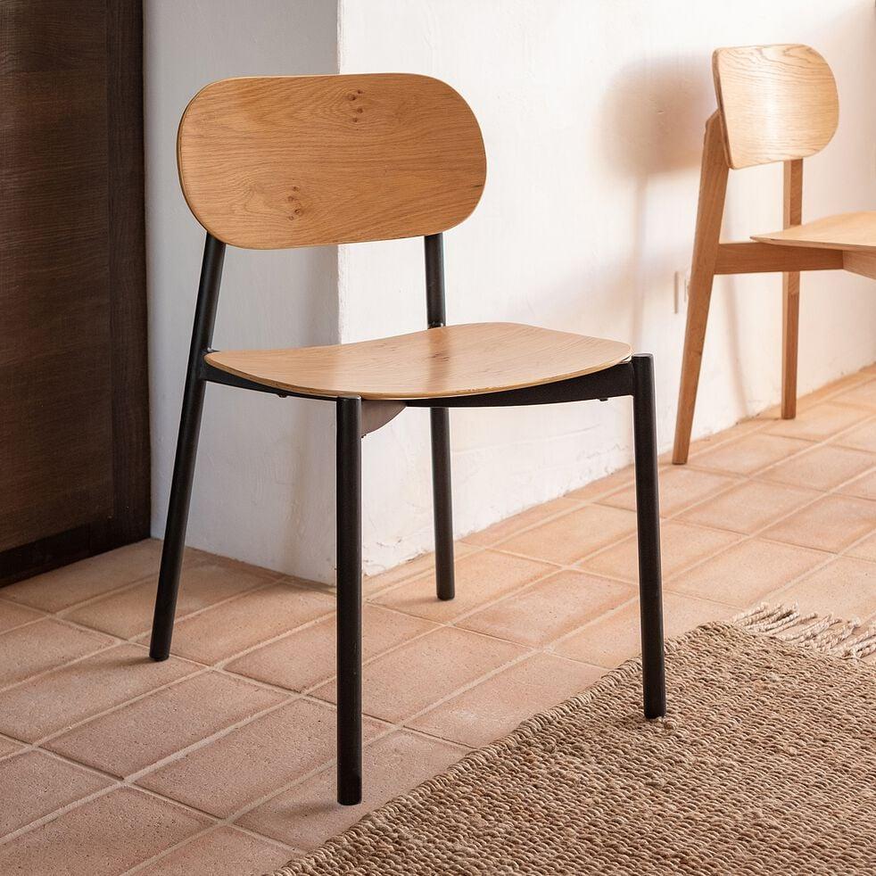 Chaise en bois et métal - naturel et noir-ILIES