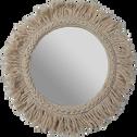 Miroir mural avec frange en coton D35cm-DONIA
