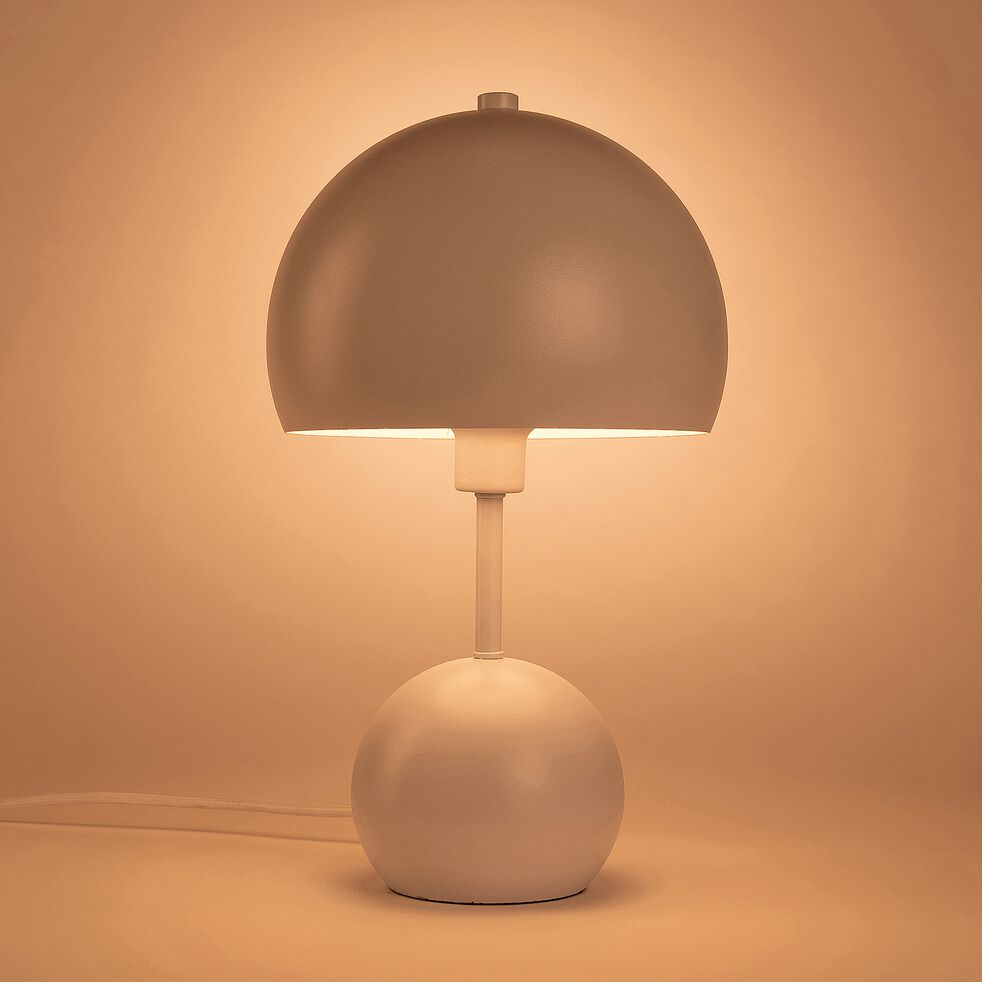 Lampe à poser forme champignon - blanc h34,50cm-Bali