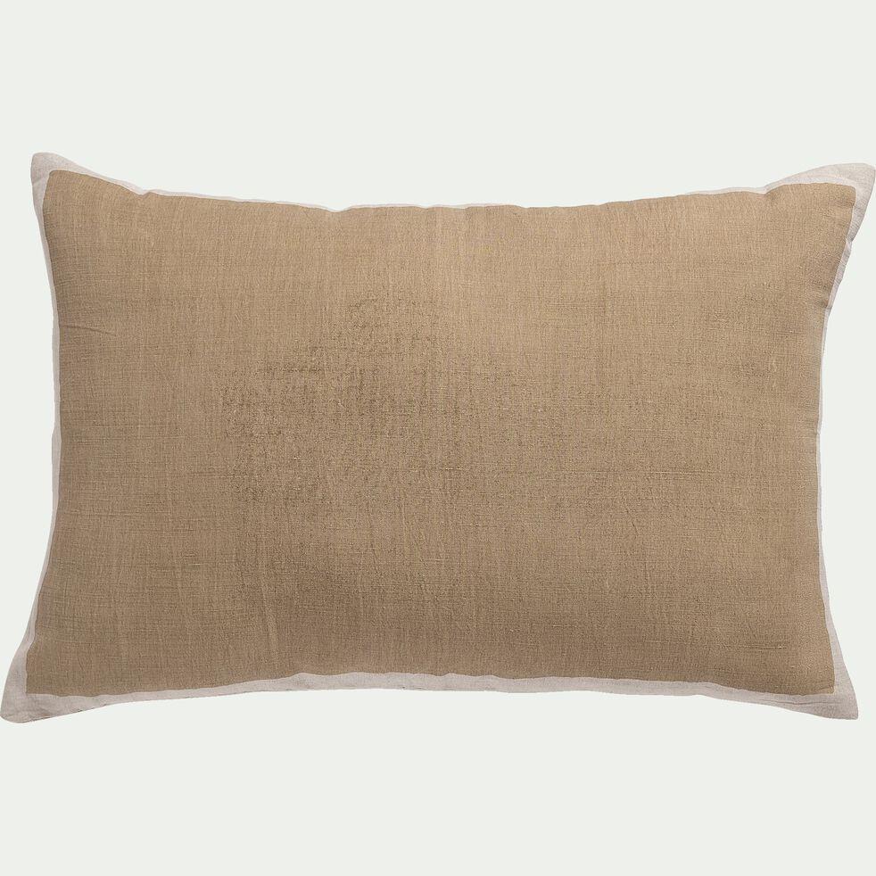 Coussin sérigraphié en lin et coton - marron noisette 40x60cm-OTA