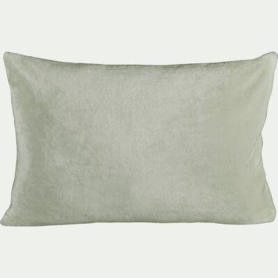 Housse de coussin effet polaire en polyester - vert olivier 40x60cm-ROBIN