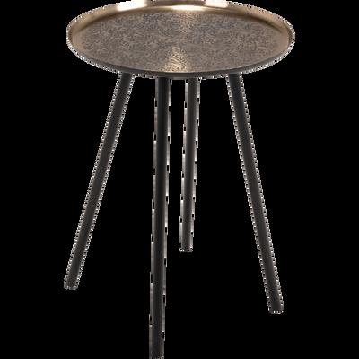 Bout de canapé en métal noir motif amande-CRETE