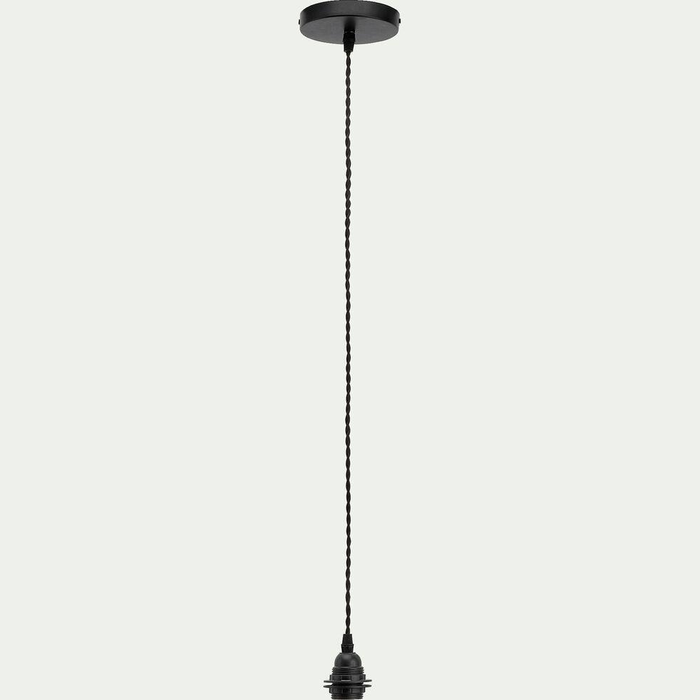Cordon électrique en tissu tressé noir culot E27 L150cm-ARGUIN
