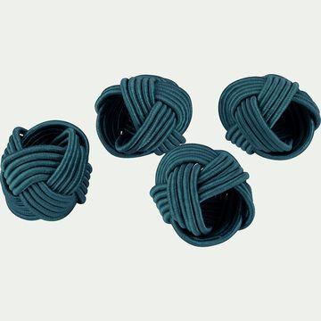 Lot de 4 ronds de serviette en coton bleu D5cm-QUARI