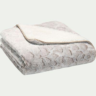 Jeté de lit réversible imitation fourrure en polyester - beige 130x170cm-Sofy