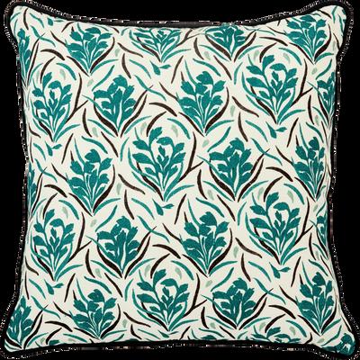 Coussin en coton a motifs bleu 40x40 cm-AMPHORES