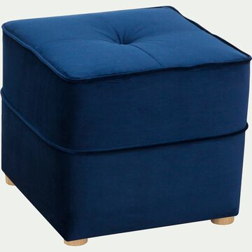 Pouf en velours - bleu-VICKY
