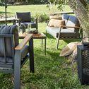 Salon de jardin en aluminium et eucalyptus - gris (4 places)-MAHON