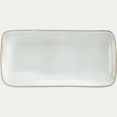 Assiette de présentation en grès blanc D30cm-ALONG