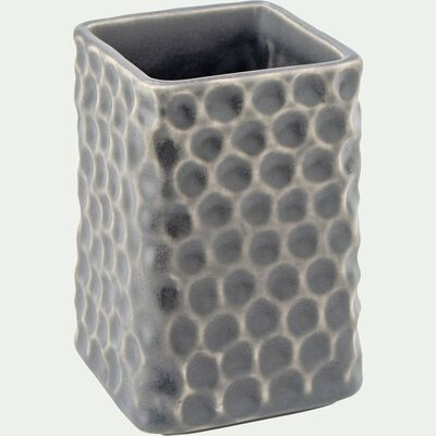 Porte brosse à dent en céramique martelée - gris-NEVA