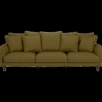 Canapé 5 places fixe en tissu vert cèdre-LENITA