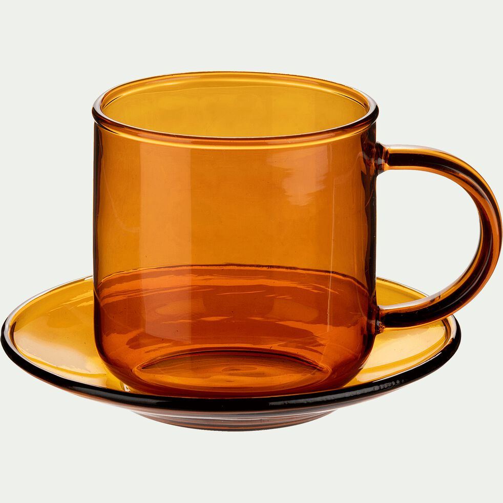 Tasse avec sous-tasse en verre ambré 15cl-AUBER