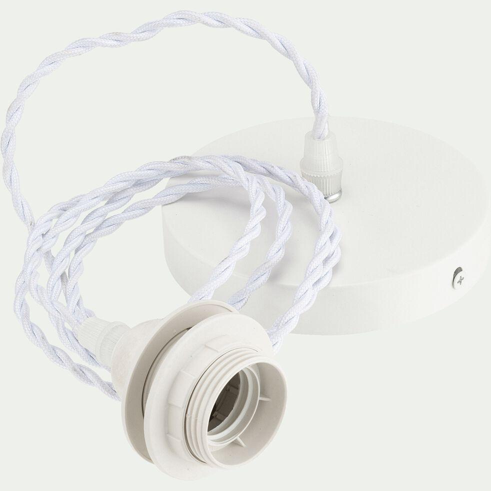Cordon électrique en tissu tressé blanc culot E27 L150cm-ARGUIN