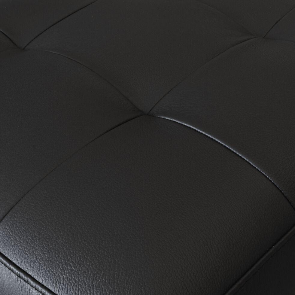 Pouf en cuir avec coffre - noir-MAURO