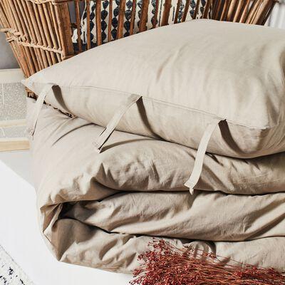 Housse de couette et 2 taies d'oreiller en coton lavé - beige alpilles 260x240cm-MANTA