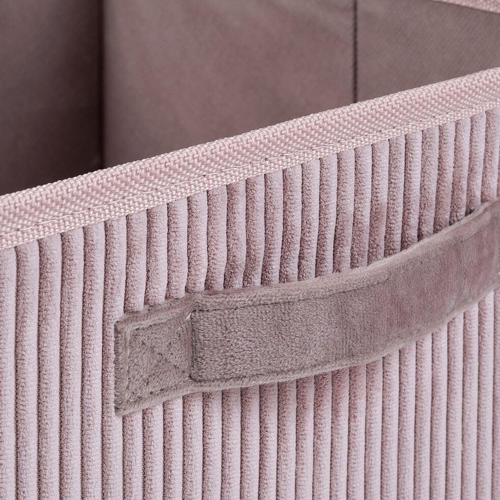 Panier de rangement en velours côtelé - rose H12xL26cm-Vela