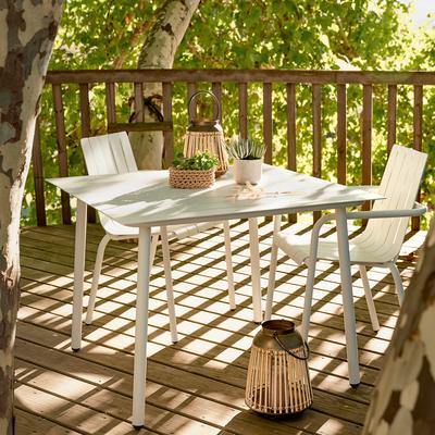 Table de jardin blanc en aluminium (2 à 4 places)-CENOZA