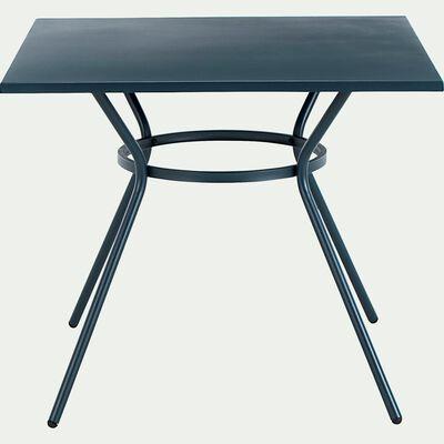 Table de jardin carrée en acier avec bouts arrondis - bleu figuerolles (2 à 4 places)-STRACCIA