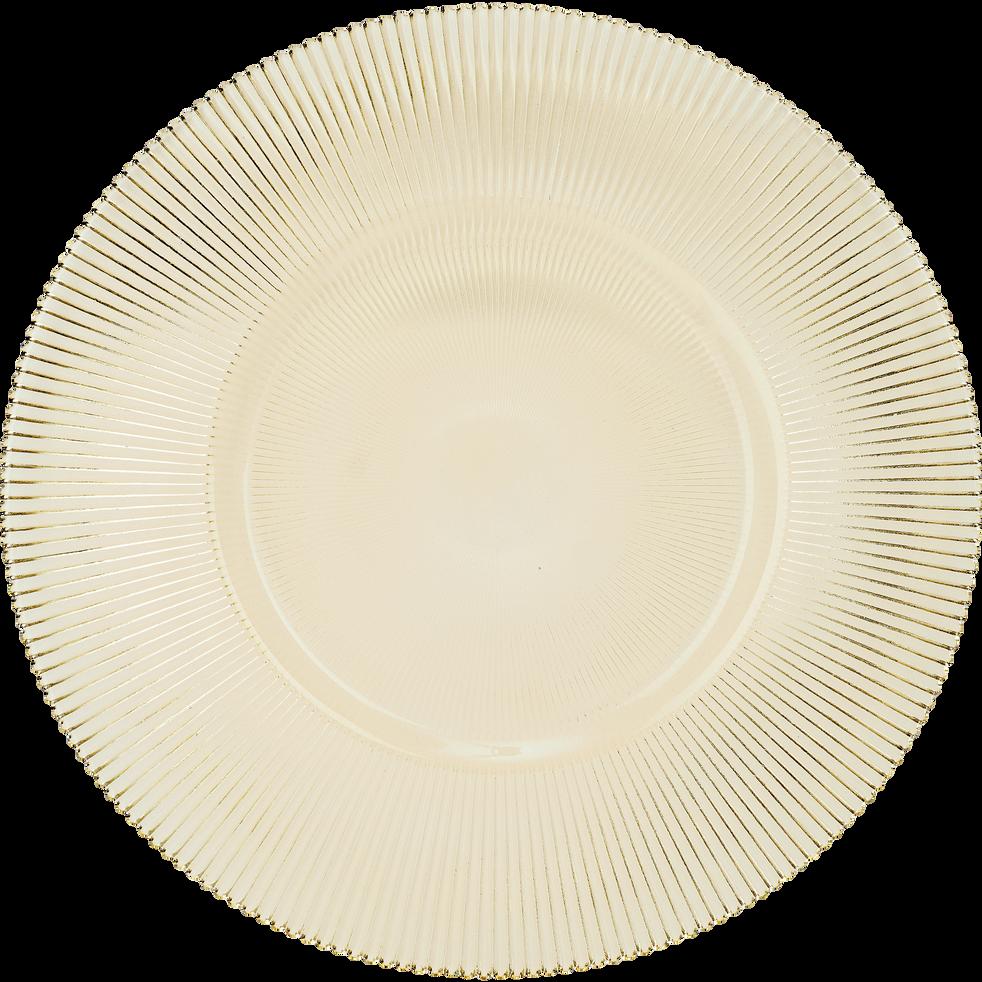 Assiette de présentation en verre strié doré D35cm-SUPERBE