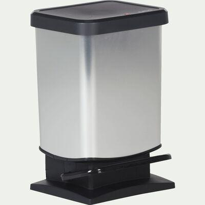 Poubelle à pédale effet métal - argenté 20L-Paso