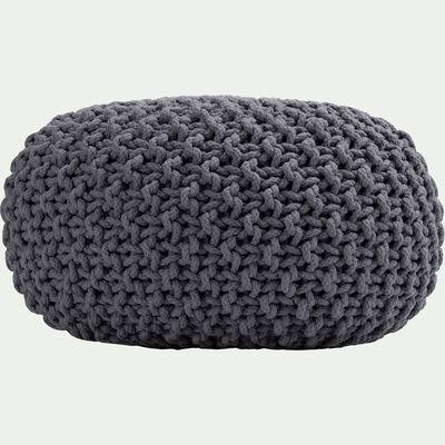 Pouf en coton tressé gris restanque 50x50x30cm-CESAR
