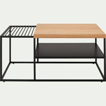 Table basse plaquée chêne et métal noir avec plateau coulissant-ESPIGA