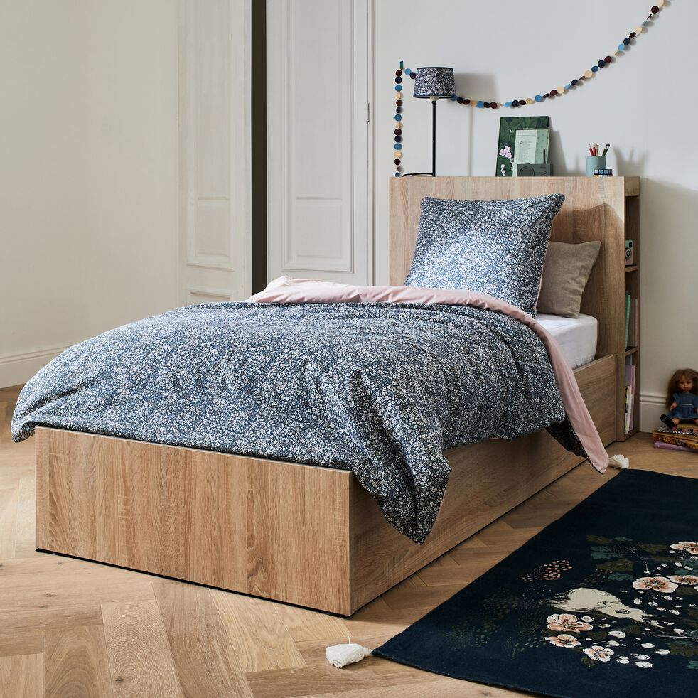 Tête de lit en bois avec rangements - noir et effet chêne clair L100cm-BALME