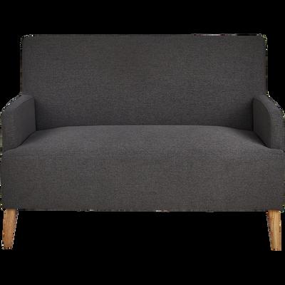 Canapé 2 places fixe en tissu gris restanque-NANS