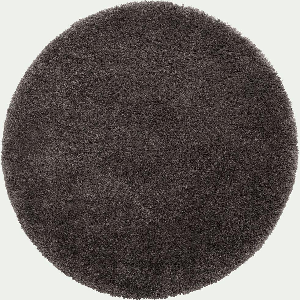 Tapis rond à poils longs - gris D160cm-KRIS