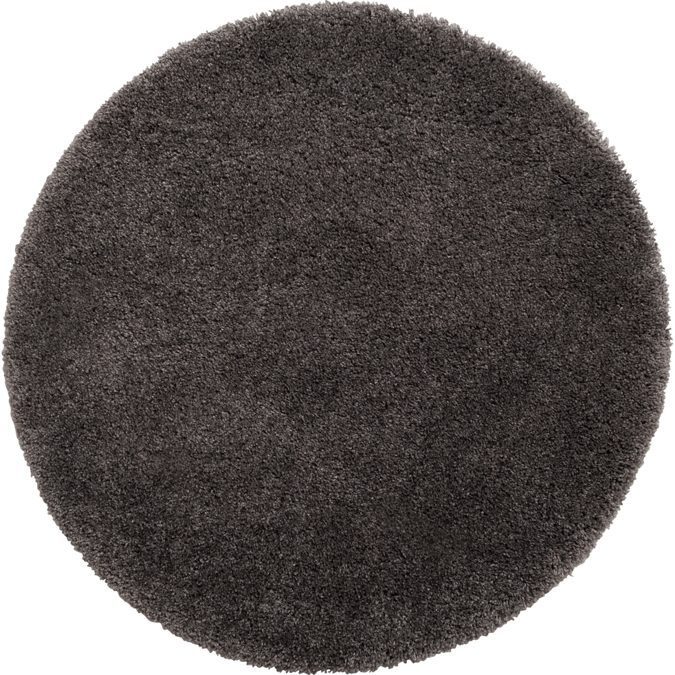 Tapis rond à poils longs gris D160cm-KRIS