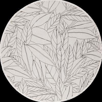 Tapis rond intérieur et extérieur à motifs laurier D120 cm-LAURIER