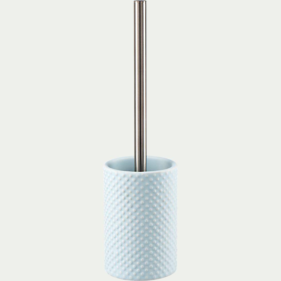 Brosse et porte-brosse wc en céramique relief - bleu amandier-NARCISSE