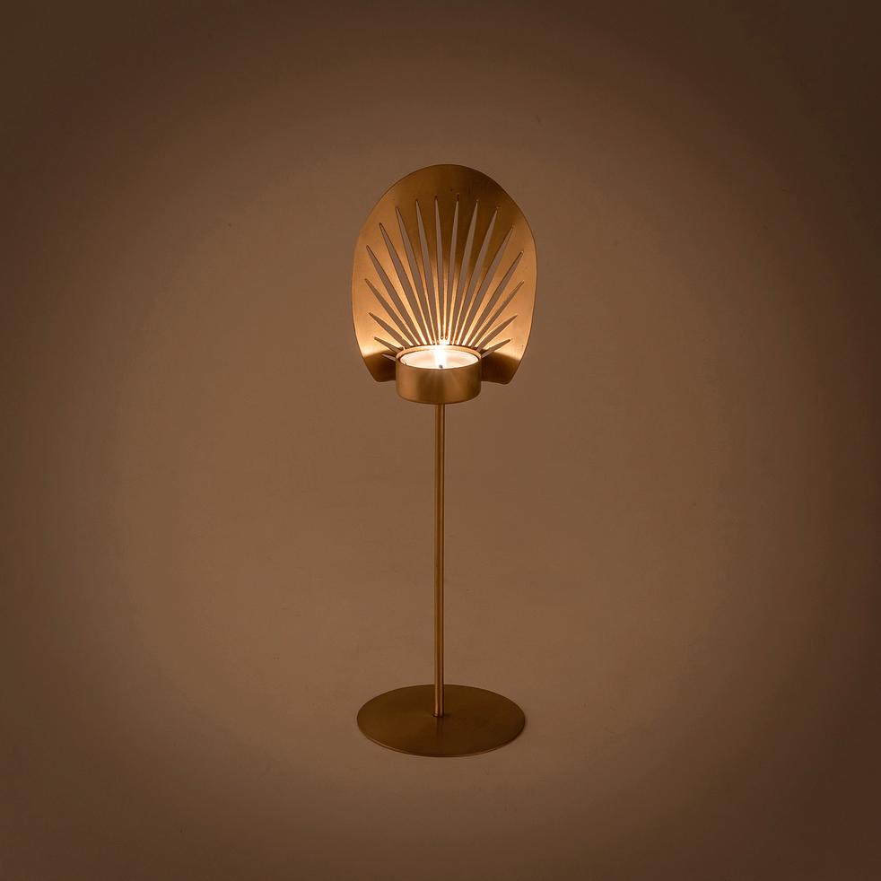Bougeoir en métal doré H28cm-CEBU