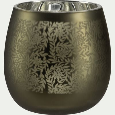 Vase en verre motif Jasmin - vert cèdre H12cm-LEMNOS