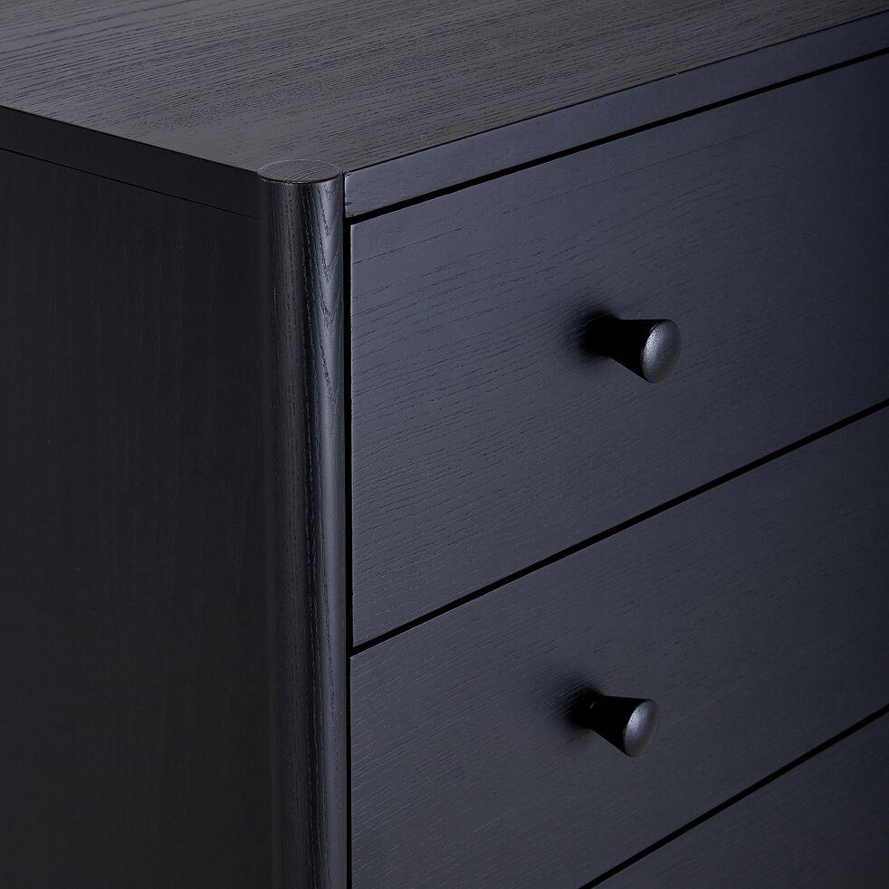 Commode 4 tiroirs en bois - noir H110xP40xl90cm-PRADO