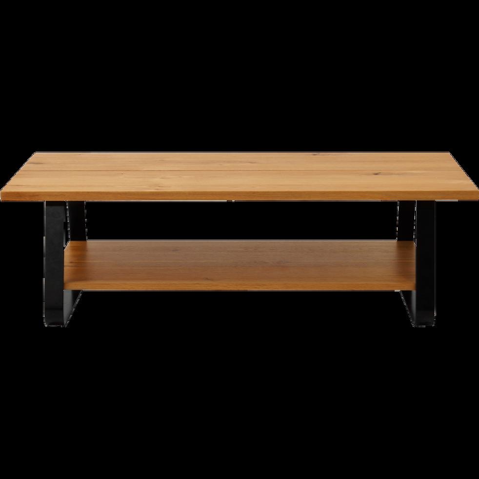 Table basse plaqu ch ne avec pi tement luge en m tal noir fantine tables basses alinea for Alinea table basse bois