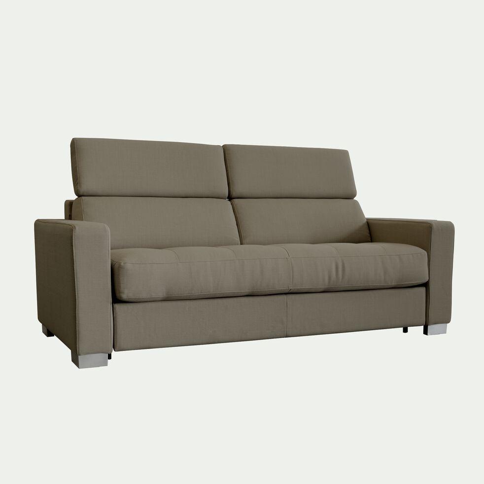 Canapé 3 places fixe en tissu avec accoudoir 15cm - taupe-MAURO