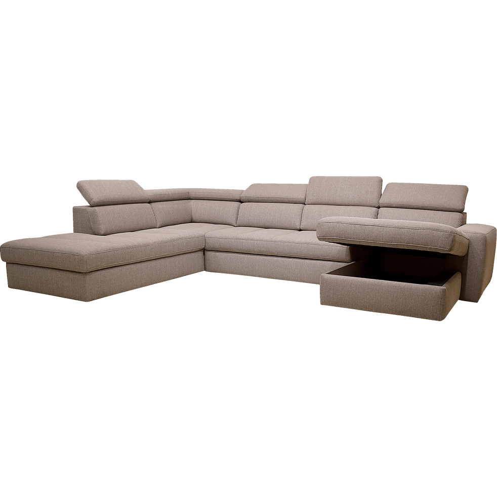 Canapé d'angle en u convertible en tissu grège avec méridienne à droite-TONIN
