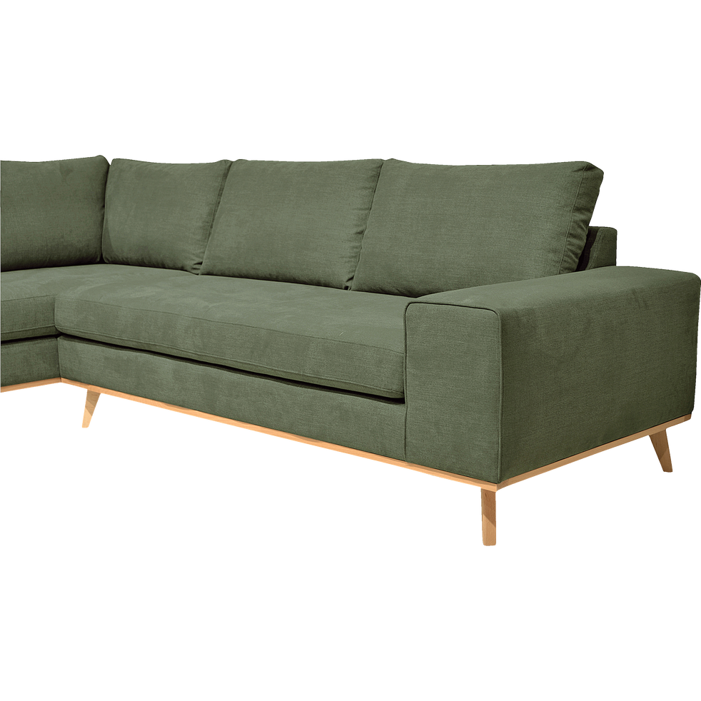 canap d 39 angle fixe gauche en tissu kaki picabia. Black Bedroom Furniture Sets. Home Design Ideas