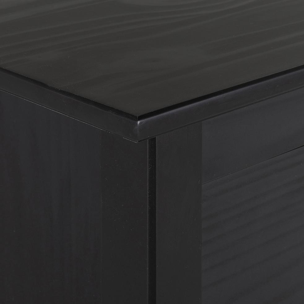 Commode avec structure et façade en pin massif 2x3 tiroirs noir-LISON