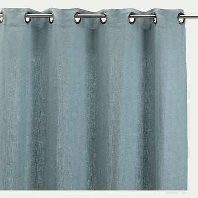 Rideau à œillets en lin lavé - bleu calaluna 140x280cm-VENCE