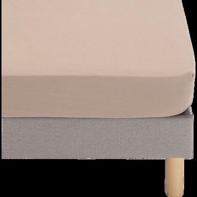 Drap housse en coton beige 160x200cm-VENCE