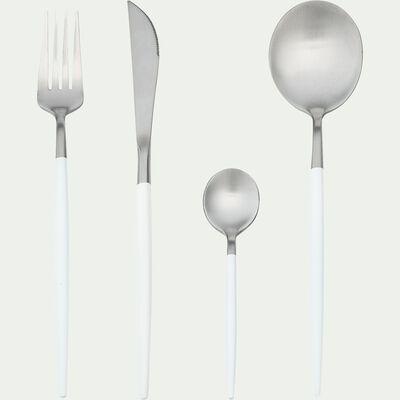 Ménagère 16 pièces en inox - gris métallisé et blanc-AGASSO