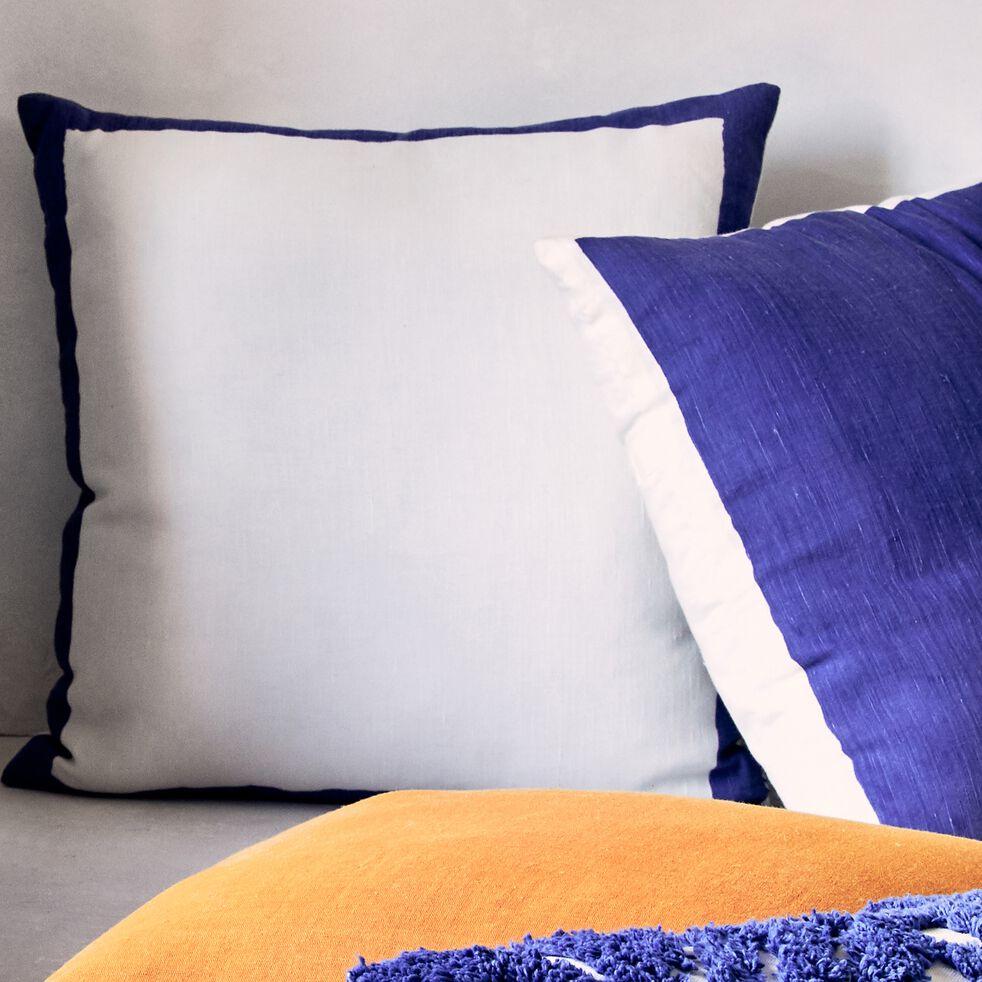 Coussin sérigraphié en lin et coton - écru et bleu 45x45cm-EVORA