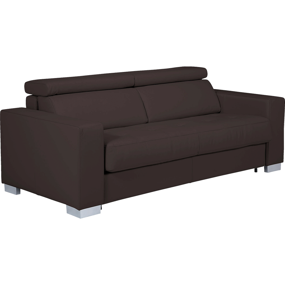 canap 3 places fixe en cuir de buffle marron mauro catalogue storefront alin a alinea. Black Bedroom Furniture Sets. Home Design Ideas