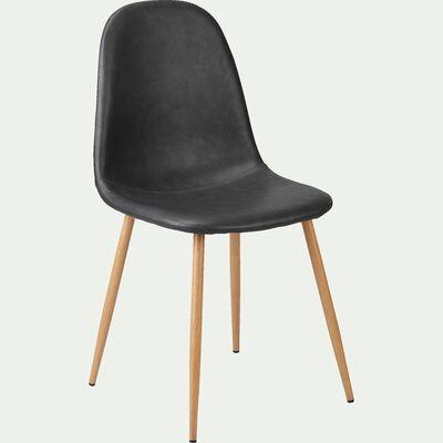 Chaise en acier impression bois et tissu - noir-LOANA