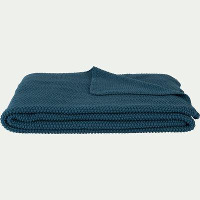 Plaid effet tricot en coton - bleu figuerolles 130x170cm-VERDON