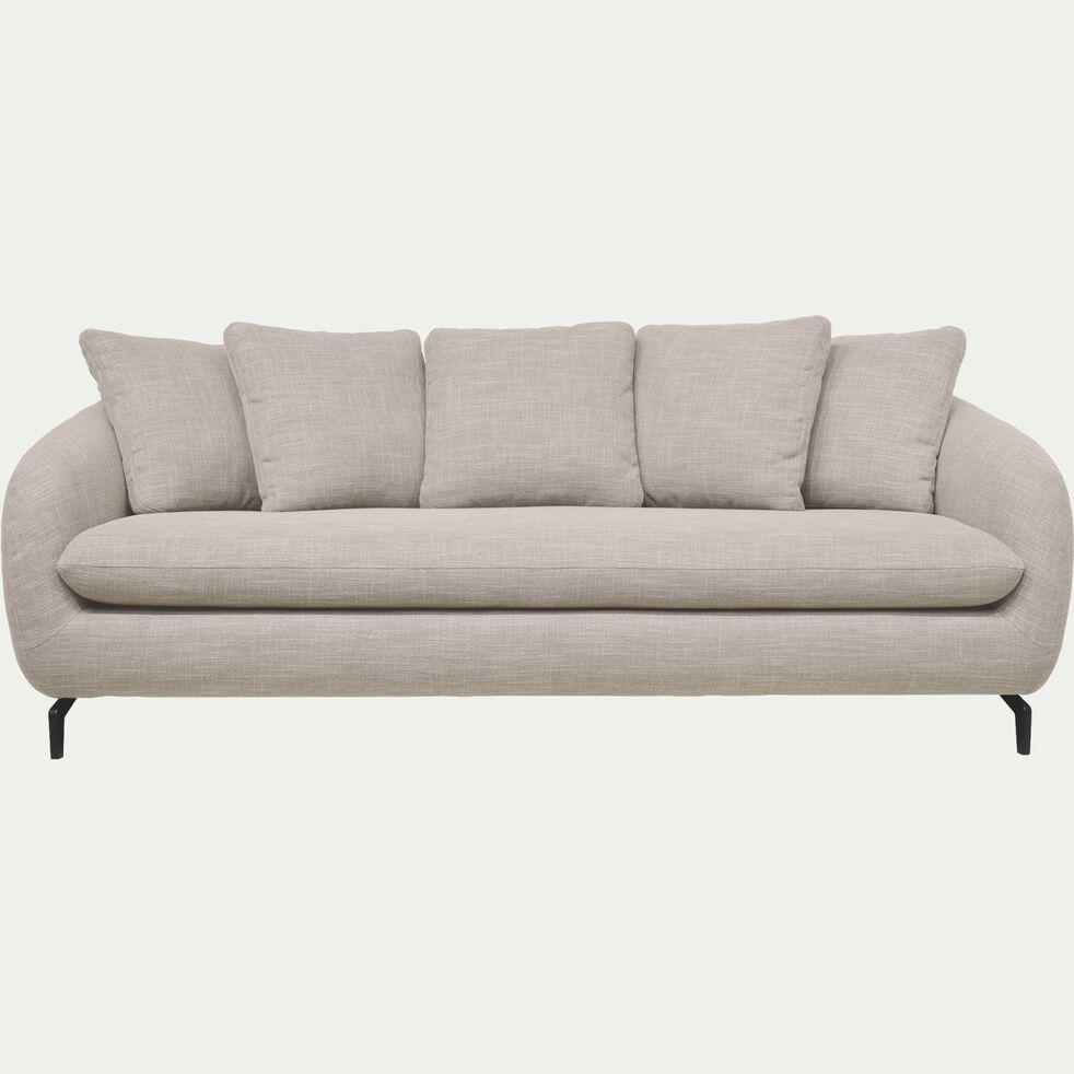 Canapé fixe 4 places en tissu flammé piétement noir - beige alpilles-COLINE